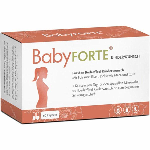 Baby Forte für den Bedarf bei Kinderwunsch an Folsäure Eisen, Jod Maca und Q10